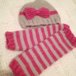 Knitted Baby Hat and Leg Warmers